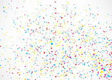 Abstract Color Splash Illustration On White Background. Calligraphy Ink Drop On Paper Random Pattern Background In Color. Colorful Confetti On White Background.