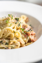 Spaghetti Carbonara With A Bacon, Eggs And Cheese Sauce.
