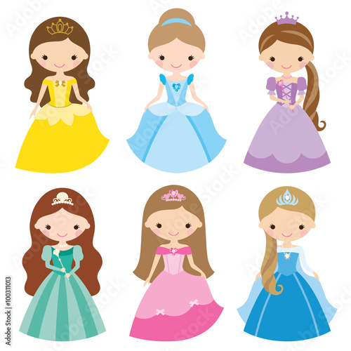 fototapeta na drzwi i meble Vector illustration of princess in different costumes.