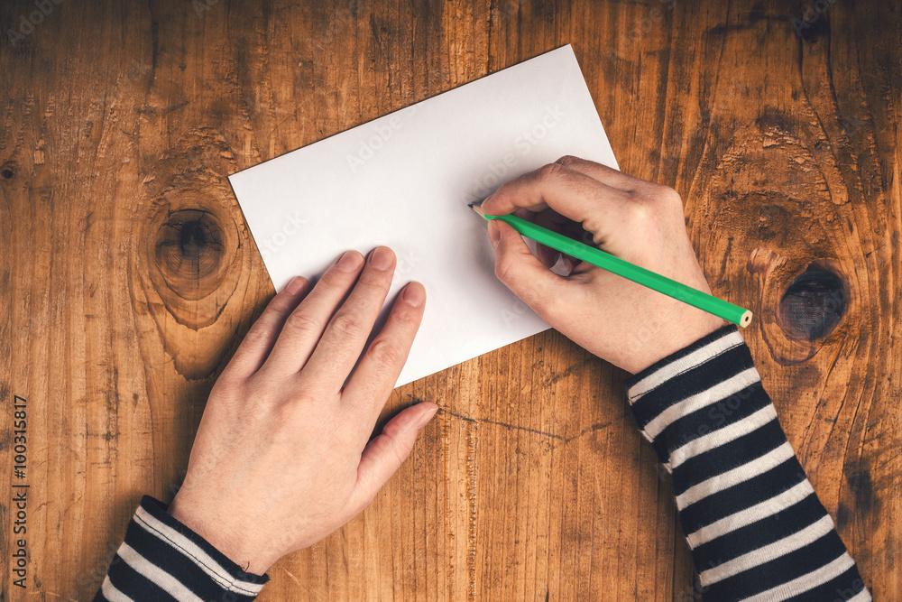 Photo Art Print Woman Writing Recipient Address On Mailing