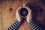 Fototapeta Coffie - Lonely woman drinking coffee in the morning