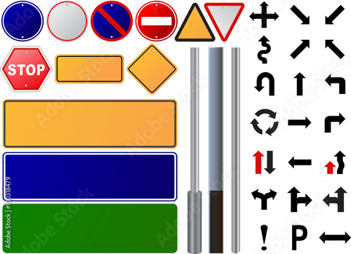 Set Road Sign All Type Image Of Various Signs Isolated On A White Background Vector