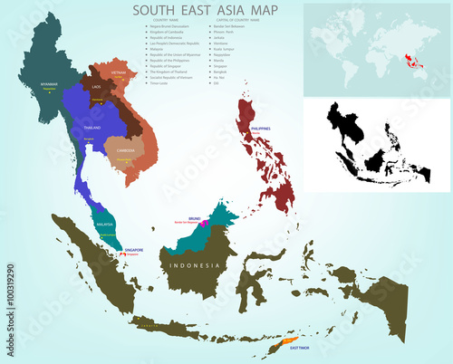 Map of Southeastern Asia divided by the countries /Country ...