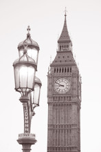 Lamppost And Big Ben And Black And White In Sepia Tone, London, England, UK