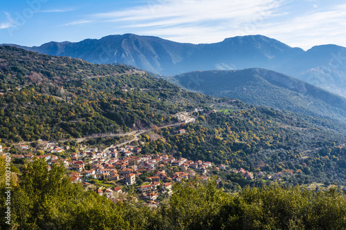 Picturesque mountain traditional village in Greece Canvas Print