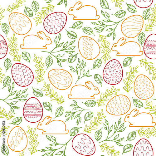 Cotton fabric Seamless pattern with Easter bunny, eggs and floral elements