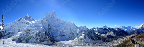 Mount Everest and the Khumbu Glacier from Kala Patthar, Panoramatic photo Canvas Print