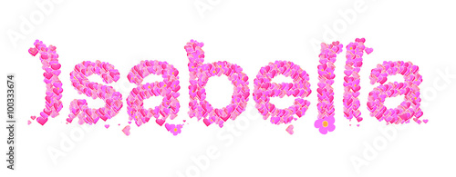 Isabella Female Name Set With Hearts Type Design Buy This Stock