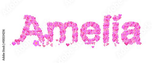 Amelia female name set with hearts type design Canvas Print