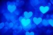 canvas print picture - heart background photo blue color