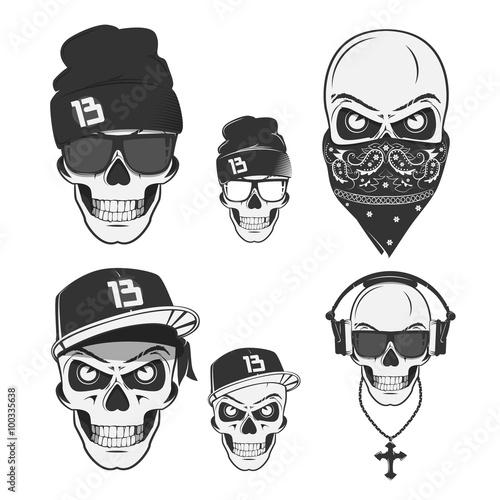 Photo  Set of vintage skull rap emblems, labels, badges, logos and design elements