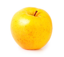 One Yellow Apple On A White Background