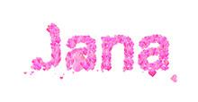 Jana Female Name Set With Hearts Type Design