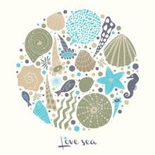 Sea Life. Cute Vector Postcard.
