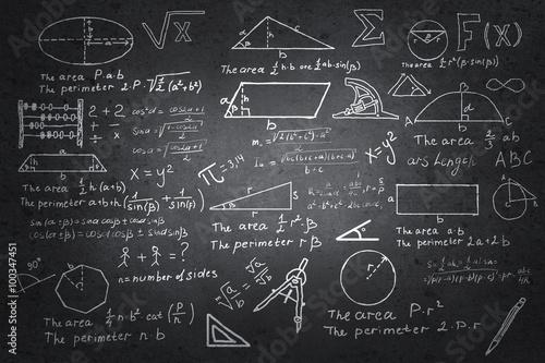Plakat w ramie Mathematics sketches on blackboard