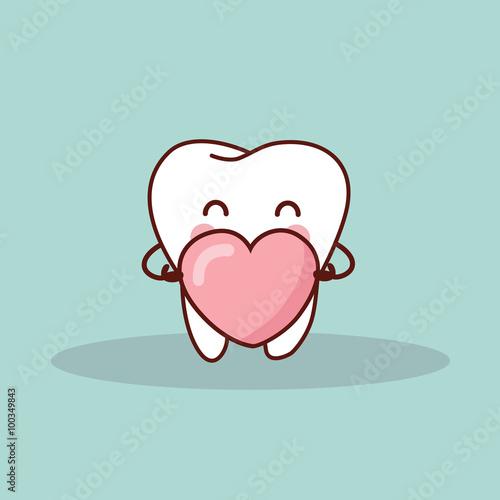 Valokuva  cute cartoon tooth with love