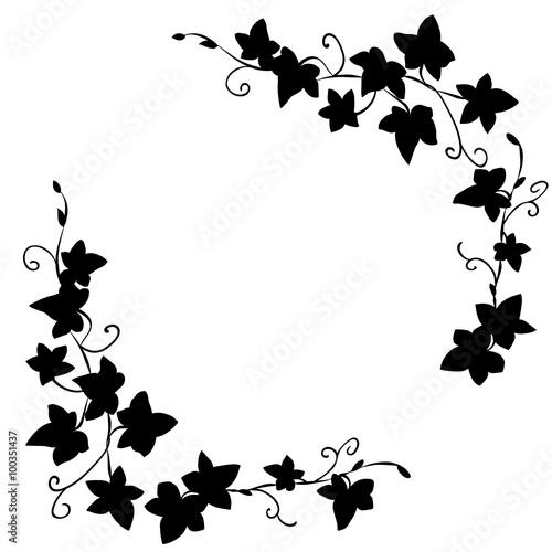 Foto Black doodle ivy leaves pattern
