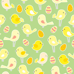 Naklejka vector seamless Easter pattern with birds and eggs