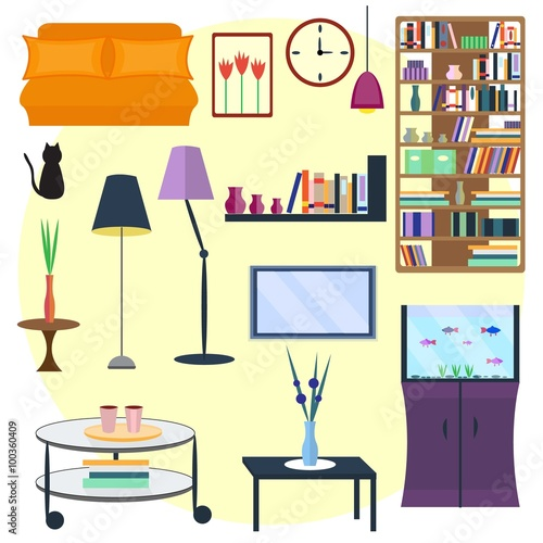 Set Of Home Furniture For Interior Vector Illustration And Stuff Sofa