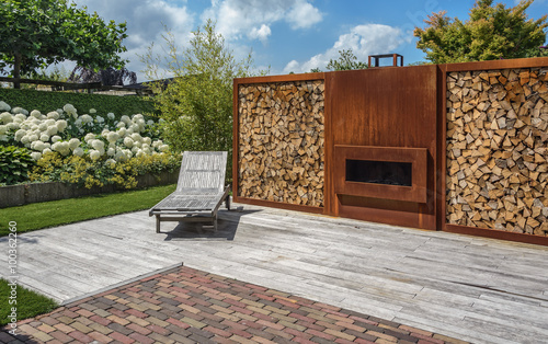 Foto op Canvas Tuin Fireplace in the garden.