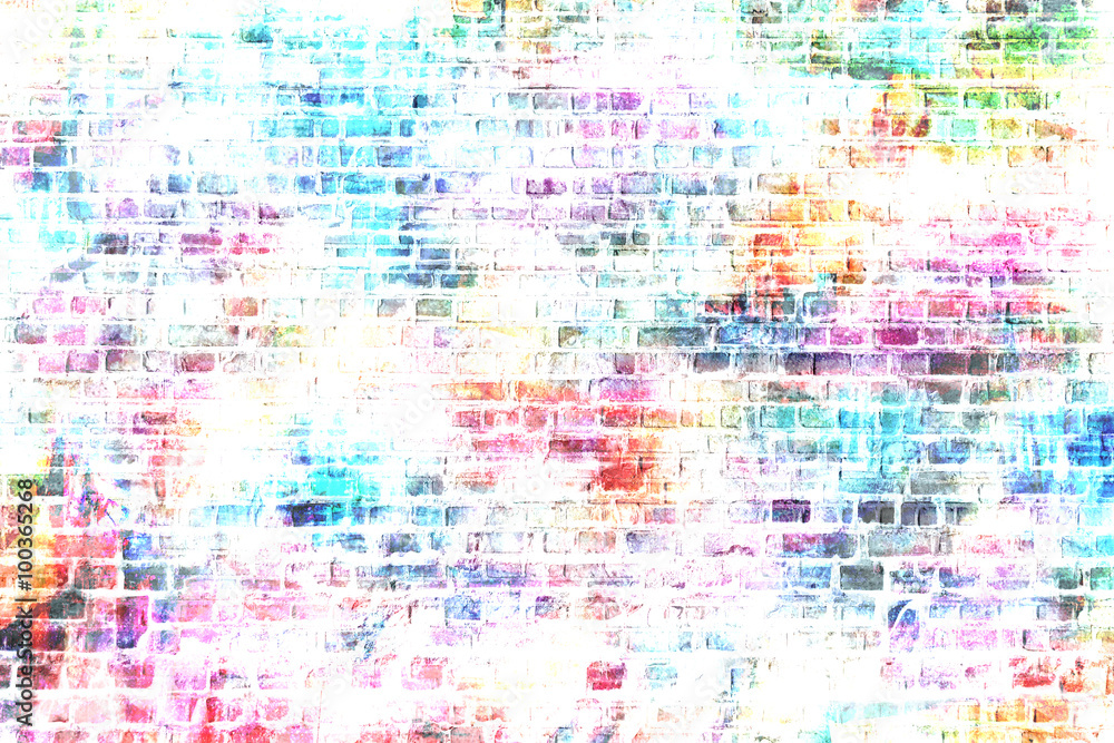 Colorful grunge urban art wall background