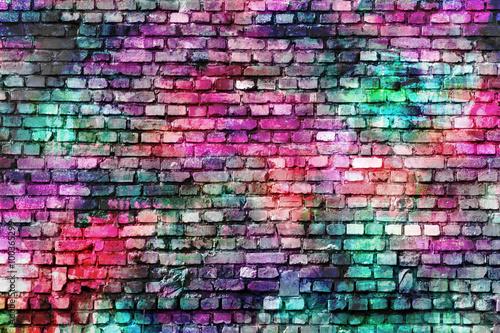 Poster Graffiti Colorful grunge urban art wall background