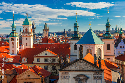 Poster Oost Europa Aerial view over Old Town in Prague with domes of churches, Bell tower of the Old Town Hall, Powder Tower, Czech Republic