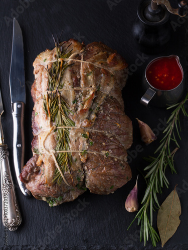 Fotografie, Obraz  Beef roulade with smoked bacon and rosemary