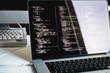 canvas print picture - js code on laptop screen, web development