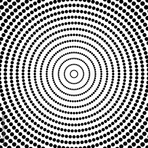 Spoed Foto op Canvas Psychedelic Abstract dots. Circular, radiating dotted pattern. Concentric ci