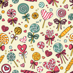 Panel Szklany Słodycze Vector seamless pattern with candy and lollipops