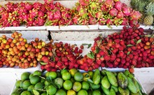 Colorful Tropical Fruit For Sale At An Open Air Street Market In Siem Reap, Cambodia
