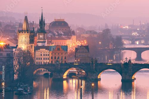 Poster Prague Top view over Old Town and bridges over Vltava River in Prague, Czech Republic