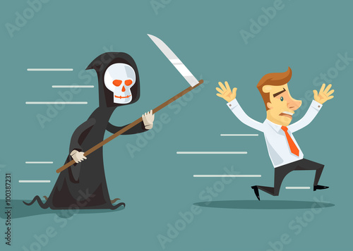 Businessman run away from death. Vector flat illustration Wallpaper Mural