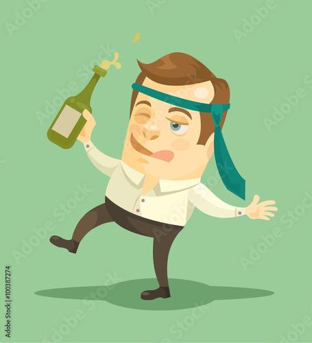 Fotografie, Obraz  Drunk businessman. Vector flat illustration