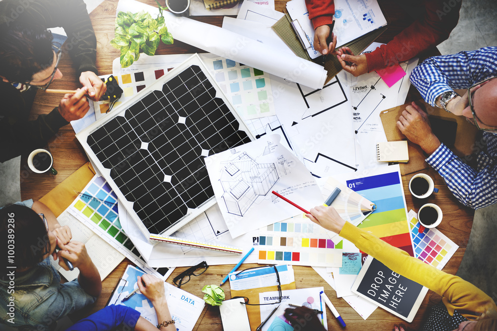 Fototapety, obrazy: People Meeting Teamwork Architect Engineer Blueprint Concept