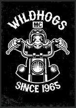 Vintage Wildhog Motorcycle Club Mascot In Grunge Texture Style