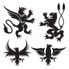 Ancient Heraldic Griffins Symbols Of Black Majestic Beasts With Body Of Lion, Angel Wings And Eagle Heads. For Heraldic Design Or Tattoo