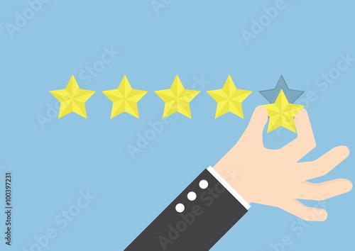 Obraz Businessman hand giving five star rating, Feedback concept - fototapety do salonu
