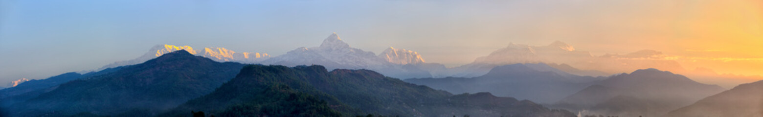 Panoramic mountains view of The Himalayas at sunrise, Nepal