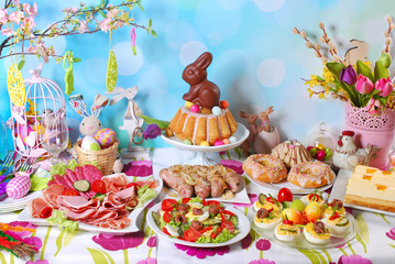 Fototapetatraditional easter breakfast on festive table