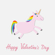 Happy Valentines Day. Love card. Cute unicorn. Isolated. White background. Flat design