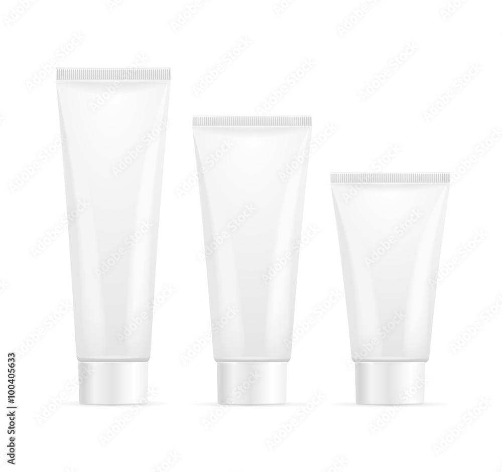 Fototapeta Tube For Cream Mock Up Set. Vector