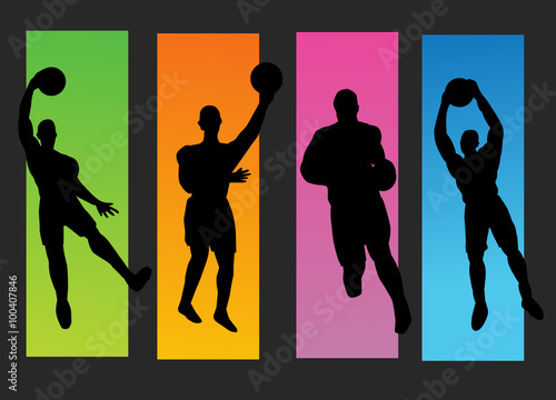Set of basketball players silhouette Poster