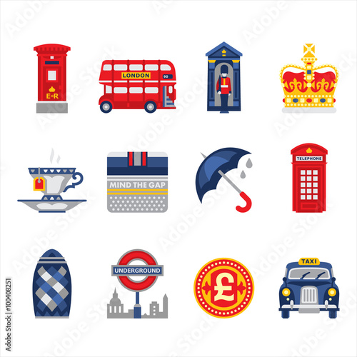 Tuinposter Doodle London and England Icon Set