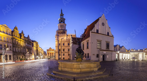 Night view of Poznan Old Market Square in western Poland.