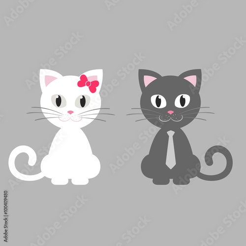 Wall Murals Cats cute kitten white and gray sitting