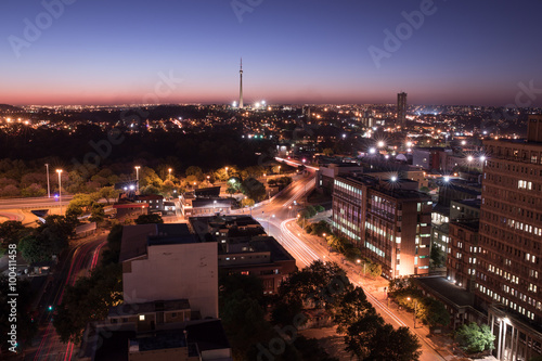 Night cityscape long exposure of Johannesburg city lights