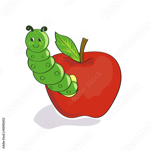 Cute Caterpillar With Red Apple Isolated On White Background