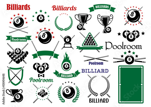 Papel de parede Billiards and pool items for sport game design
